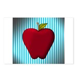 Red Apple on Teal and White Stripes Postcards (Pac