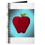 Red Apple on Teal and White Stripes Journal