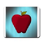 Red Apple on Teal and White Stripes Mousepad