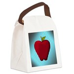 Red Apple on Teal and White Stripes Canvas Lunch B