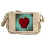 Red Apple on Teal and White Stripes Messenger Bag