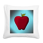 Red Apple on Teal and White Stripes Square Canvas
