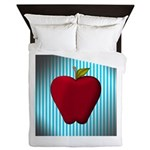 Red Apple on Teal and White Stripes Queen Duvet