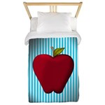Red Apple on Teal and White Stripes Twin Duvet