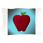Red Apple on Teal and White Stripes Pillow Case