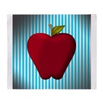 Red Apple on Teal and White Stripes Throw Blanket
