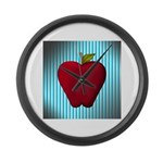 Red Apple on Teal and White Stripes Large Wall Clo
