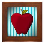 Red Apple on Teal and White Stripes Framed Tile
