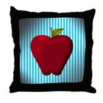 Red Apple on Teal and White Stripes Throw Pillow