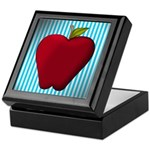 Red Apple on Teal and White Stripes Keepsake Box