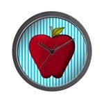Red Apple on Teal and White Stripes Wall Clock