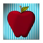 Red Apple on Teal and White Stripes Tile Coaster