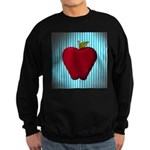 Red Apple on Teal and White Stripes Sweatshirt