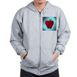 Red Apple on Teal and White Stripes Zip Hoodie