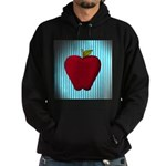 Red Apple on Teal and White Stripes Hoodie