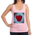 Red Apple on Teal and White Stripes Racerback Tank