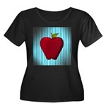 Red Apple on Teal and White Stripes Plus Size T-Sh