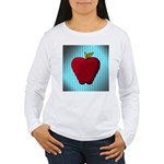 Red Apple on Teal and White Stripes Long Sleeve T-