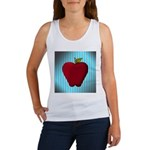 Red Apple on Teal and White Stripes Tank Top