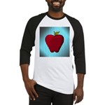 Red Apple on Teal and White Stripes Baseball Jerse