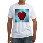 Red Apple on Teal and White Stripes T-Shirt