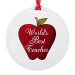 Worlds Best Teacher Apple Ornament