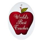 Worlds Best Teacher Apple Ornament (Oval)