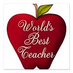 Worlds Best Teacher Apple Square Car Magnet 3