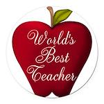 Worlds Best Teacher Apple Round Car Magnet