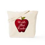 Worlds Best Teacher Apple Tote Bag