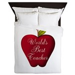 Worlds Best Teacher Apple Queen Duvet