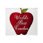 Worlds Best Teacher Apple Throw Blanket