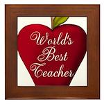 Worlds Best Teacher Apple Framed Tile