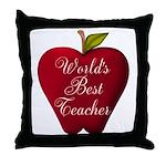 Worlds Best Teacher Apple Throw Pillow