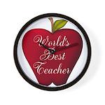 Worlds Best Teacher Apple Wall Clock