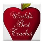 Worlds Best Teacher Apple Tile Coaster