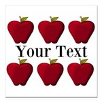 Personalizable Red Apples Square Car Magnet 3