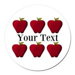 Personalizable Red Apples Round Car Magnet