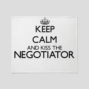 Keep calm and kiss the Negotiator Throw Blanket