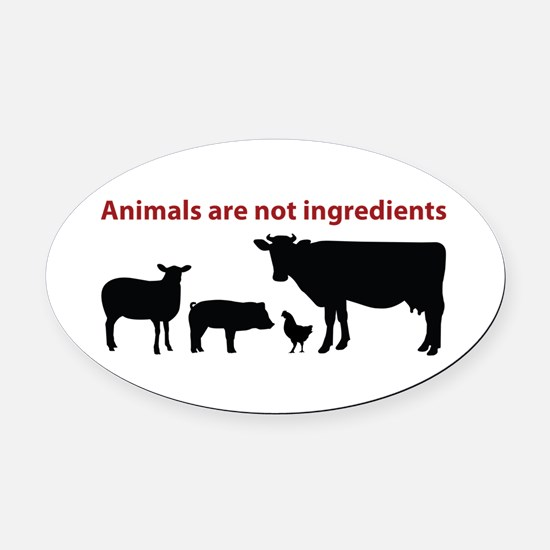 Cute Vegetarian Oval Car Magnet