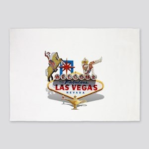 Las Vegas Welcome Sign 5'x7'Area Rug