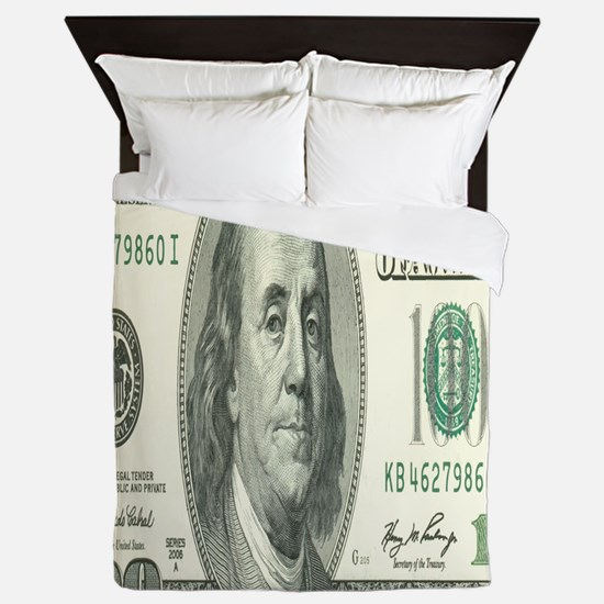 One Hundred Dollar Bill Queen Duvet