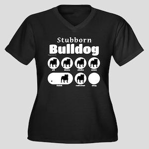 Stubborn Bul Women's Plus Size V-Neck Dark T-Shirt
