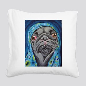 Black Pug in Hoodie Square Canvas Pillow