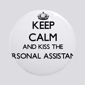 Keep calm and kiss the Personal A Ornament (Round)