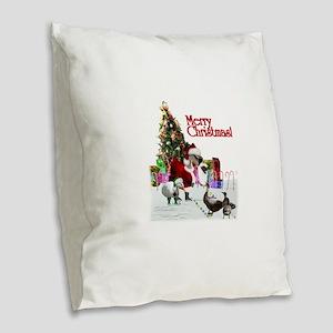 Christmas goose and ducks Burlap Throw Pillow