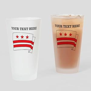 Custom Washington DC Flag Drinking Glass