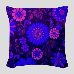Purple Daisy Print Woven Throw Pillow
