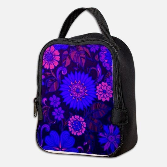 Purple Daisy Print Neoprene Lunch Bag