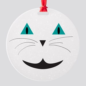 White Cat Smile Round Ornament